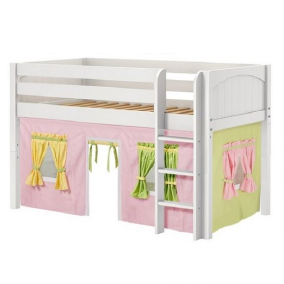 White Panel Low Loft Bed with Curtains
