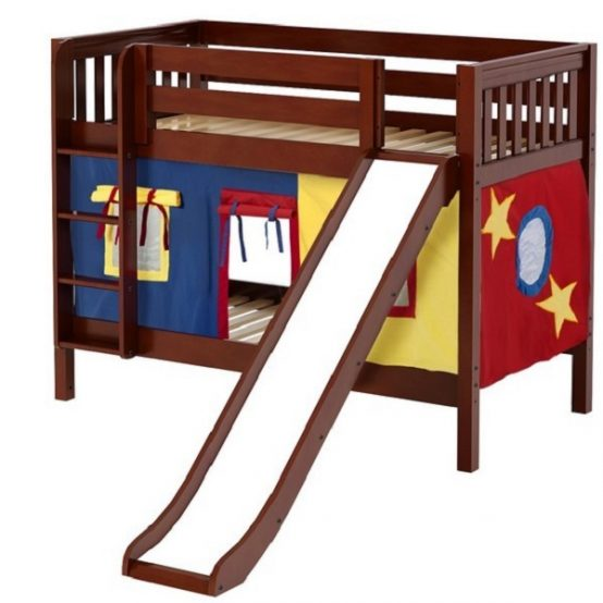 Chestnut Slat Twin Low Bunk Bed with Slide & Curtains