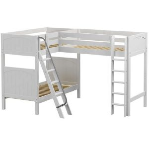 High Corner Loft Bed with Bottom Bunk White Panel Ends