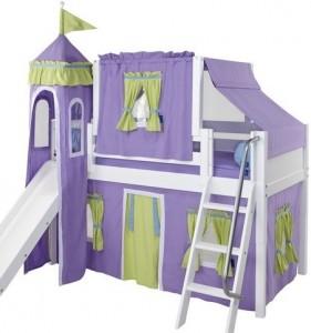 Tent & Slide Wooden Loft Beds