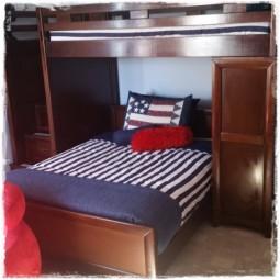 Canopy Stripe Navy White Bunk Bed Hugger