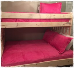 Hot Pink Minky Bunk Bed Hugger with Shams