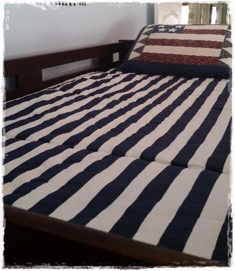 Navy White Canopy Stripe Americana Bunk Bed Hugger