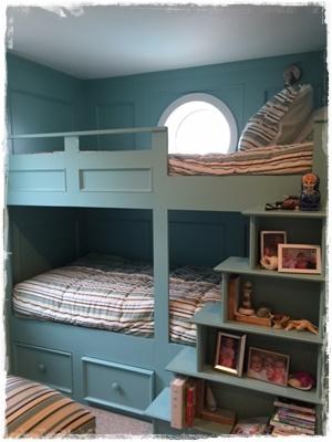 Cambridge Stripe Bunk Bed Huggers in a Beautiful Bunk Room