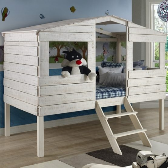 Rustic Tree House Loft Bed Twin Size Low Loft Bed For Kids