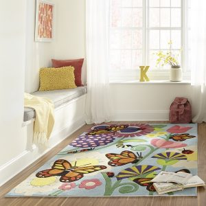 LMJ26 Multicolored Butterfly Themed Area Rugs for Kids Rooms