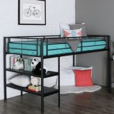 Black Metal Low Loft Bed with Desk & Shelves