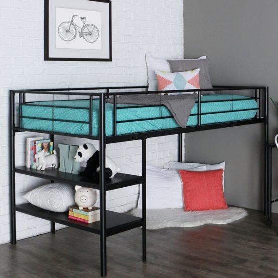 Twin Black Metal Low Loft Bed with Desk & Shelves
