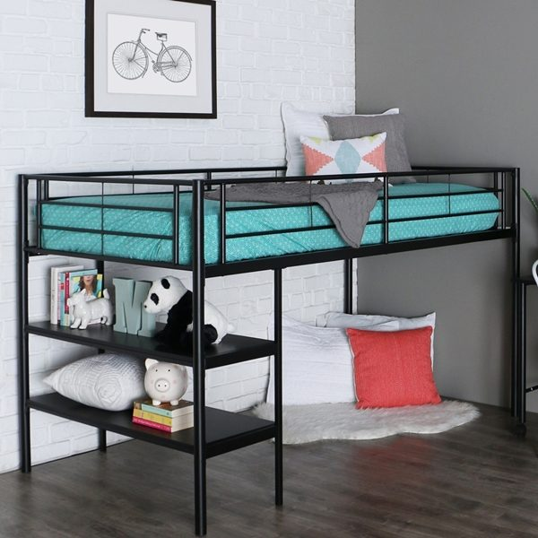 Black Metal Low Loft Bed with Desk & Shelves