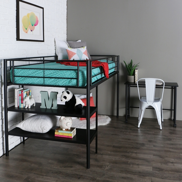 Twin Black Metal Low Loft Bed with Desk & Shelves