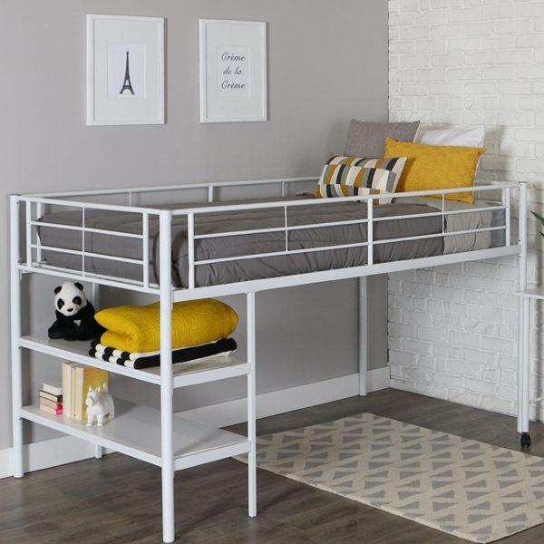 Low Loft White Metal Bed Frame with Shelves & Desk