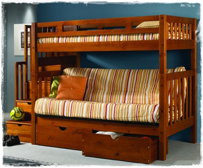 Twin over futon wood bunk beds