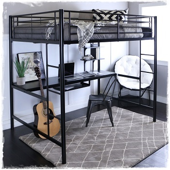 Black Metal Loft Beds with Desks