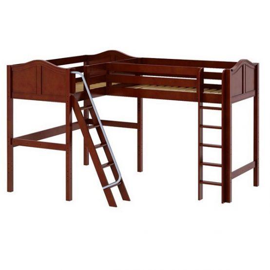 Corner Loft Bed - Highrise High Corner Loft Bed in Chestnut Finish
