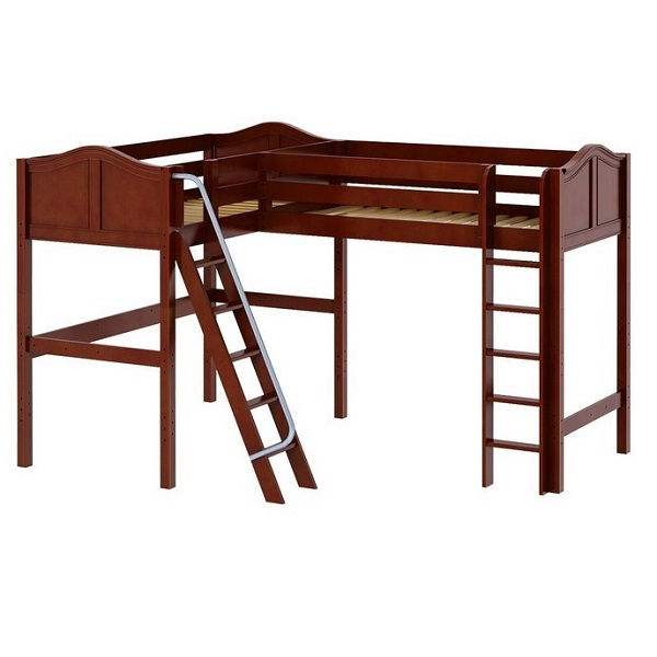 Corner Loft Bed Twin Size High In Chestnut Finish