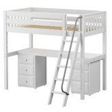 High Hardwood Loft Bed with Desk