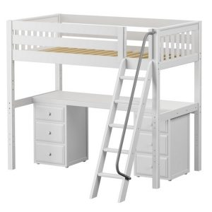 High Hardwood Loft Bed with Desk