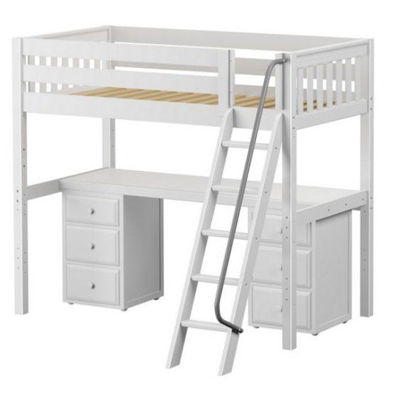Twin Black Metal Low Loft Bed With Desk Amp Shelves