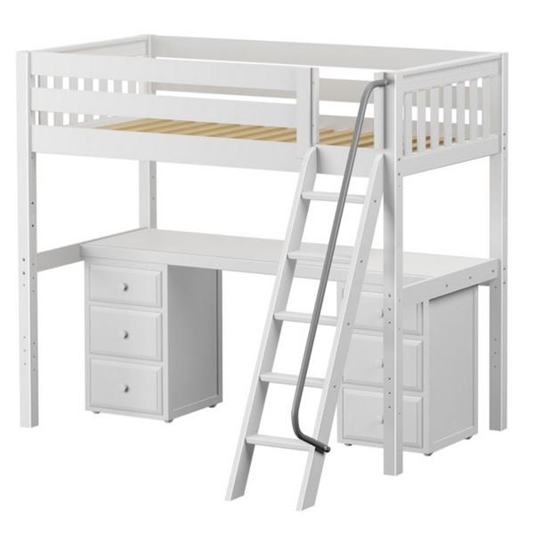 Solid Hardwood High Loft Bed With Desk Bunk Beds Bunker