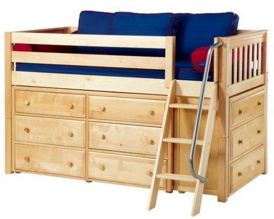 Wood Loft Beds with Storage