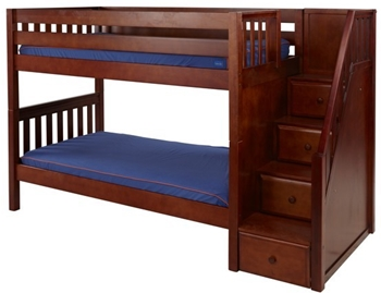 Wooden Bunk Bed with Stairs