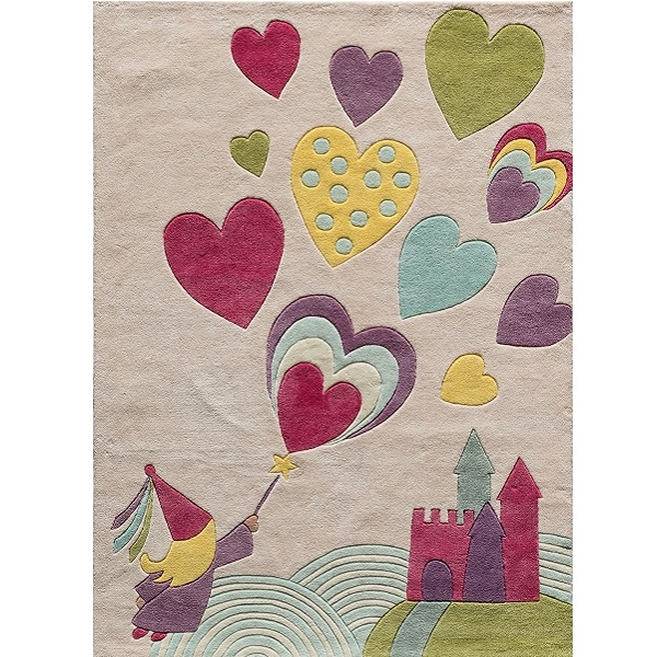 Hearts & Castle Themed Rug For Kids