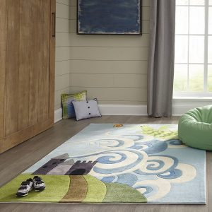 LMJ30 Sky Blue Dragon Themed Area Rugs for Kids Rooms