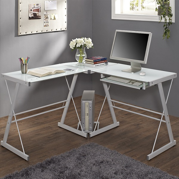 White Glass Corner Computer Desk