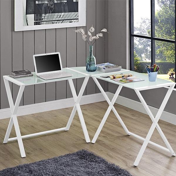 L Shaped Computer Desk White X Frame Glass Amp Metal