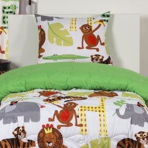 Safari Bedding Jungle Love Fitted Bunk Bed Cap Comforter Set with Sham and Toss Pillows