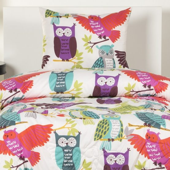 Owl Bedding Owl Always Love You Bed Cap Comforter Set with Sham and Toss PIllows