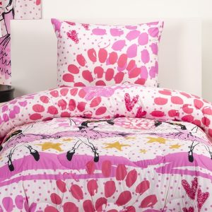 Pink Ballerina Bedding Twinkle Toes Bed Cap Comforter Set with Sham and Toss Pillows
