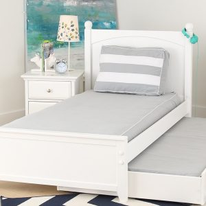 Mattress Cover Grey with White Piping for use on Beds and Daybeds