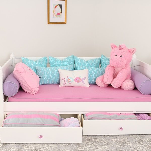 Daybed Mattress Cover Hot Pink with Grey Piping