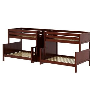 Twin Over Full Size Quadruple Bunk Bed With Staircase In Chestnut Finish