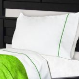 NoTuck® Bunk Bed Sheets Cotton Polyester with Lime Green Trim