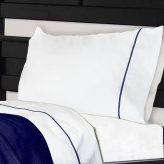 NoTuck® Bunk Bed Sheets Cotton Polyester with Navy Trim