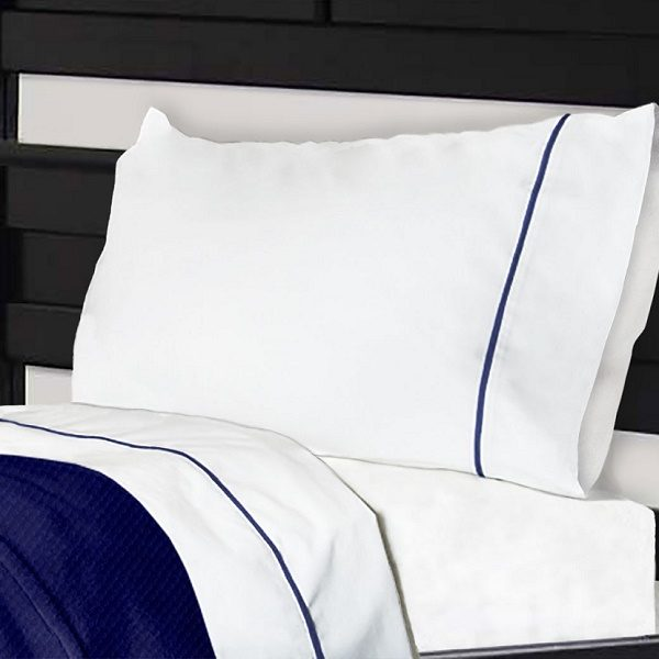 Notuck Bunk Bed Sheets Cotton Polyester With Navy Trim