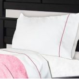 NoTuck® Cotton Polyester Bunk Bed Sheets with Petal Pink Trim
