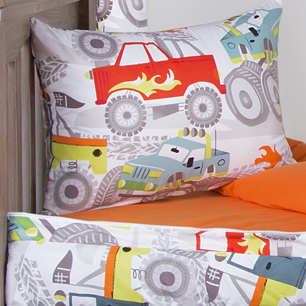 Crayola Four Wheelin Trucks Zipper Comforter With Sham