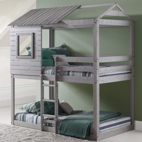 Twin over Twin Deer Blind Treehouse Bunk Bed in Light Grey Finish & Wood Tent Bunk Beds | Princess Castle Bunk Beds