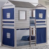 Deer Blind Bunk Bed with Blue Curtains