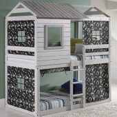 Deer Blind Bunk Bed with Camo Curtains
