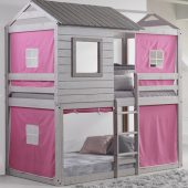 Deer Blind Bunk Bed with Pink Curtains