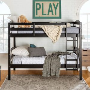 Twin over Twin Black Woodern Bunk Bed