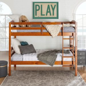Twin over Twin Wood Bunk Bed in Cherry Finish