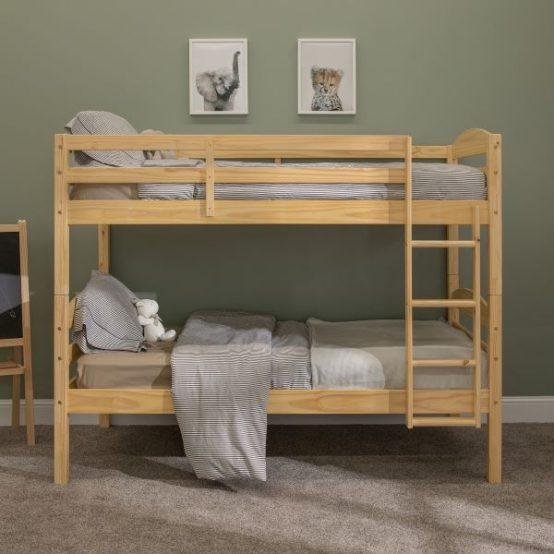 Twin over Twin Wood Bunk Bed in Natural Finish