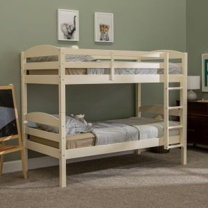 Twin over Twin Wood Bunk Bed in White Finish