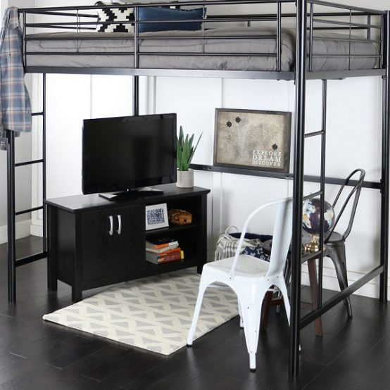 Full Size Black Metal Loft Bed with Powder Coated Finish