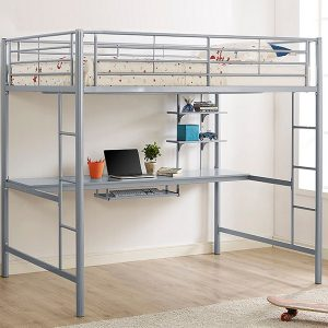 Full Size Silver Metal Loft Bed Workstation